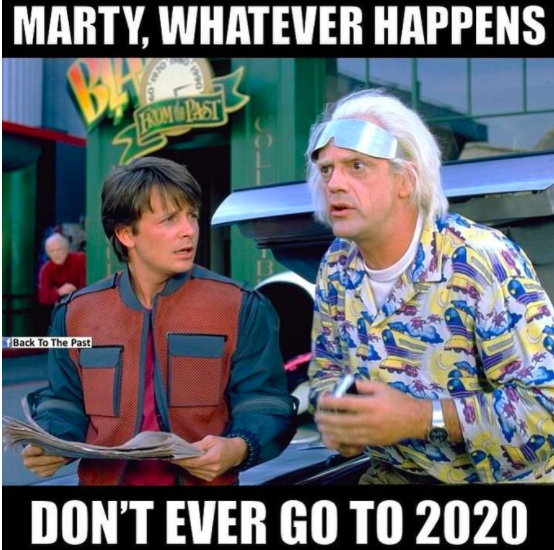 Back to the future meme: don't travel to 2020